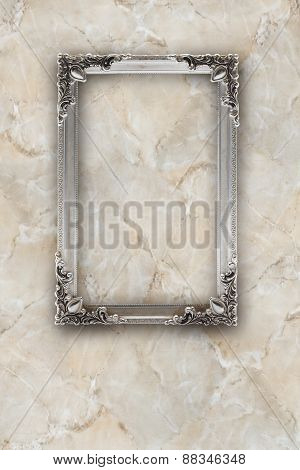 Old Silver Picture Frame On The Marble Effects Background