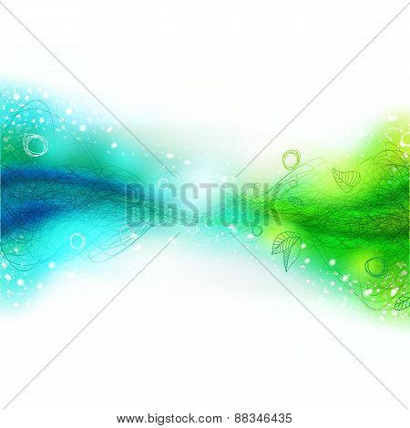 Green And Blue Connection, Drawing Background With Lines