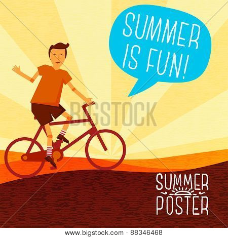 Cute summer poster -  bike riding, with speech bubble for your text. Vector.