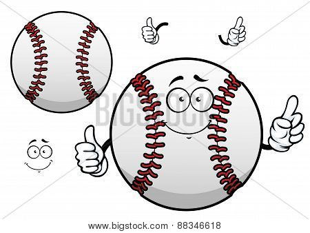 Cartoon baseball ball with thumb up