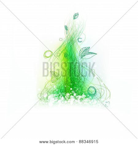 Green Lines Drawing Decor With Light Fresh Colors