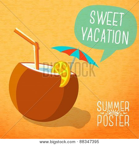 Cute summer poster -beach cocktail in coconut with umbrella and lemon slice, speech bubble for your