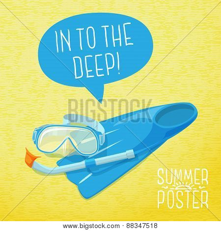 Cute summer poster - diving mask, flippers and pipe. With speech bubble for your text. Vector.