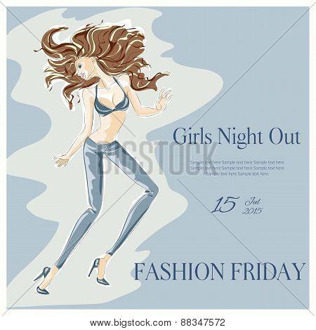 Dancing Fashion Girl In Nightclub