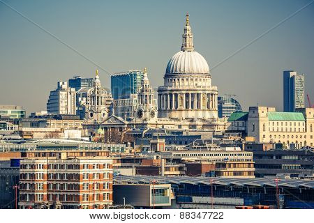 Aerial view on st. Paul Cathedral and city of London