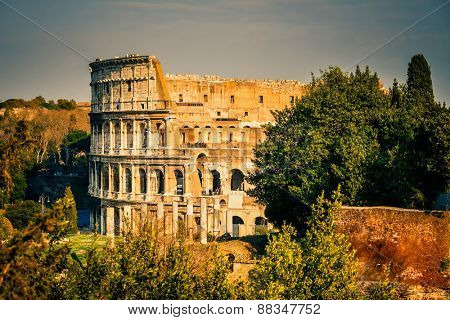 View on colosseum from forum romanum in Rome