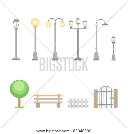 Street lights and lamps set . Outdoor elements bench, wicket, fence. Set of elements for constructio