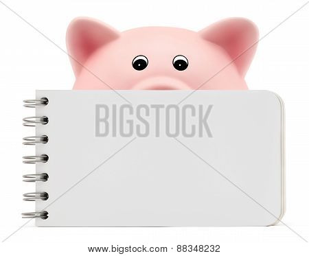 Piggy Bank With White Block Notes