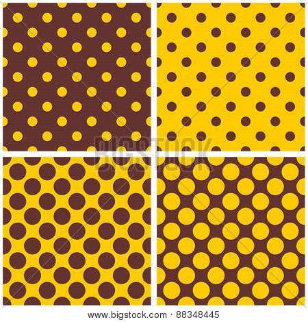 Tile vector pattern set with yellow and brown polka dots