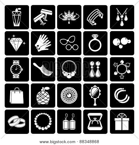 Vector jewelry and accessories icons