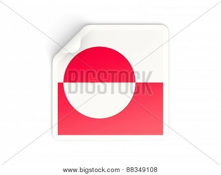Square Sticker With Flag Of Greenland