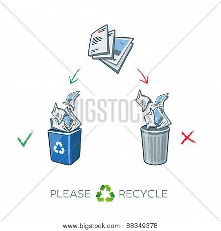 Paper Recycling Separation Bins