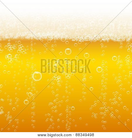 Beer foam background, horizontal seamless beer pattern