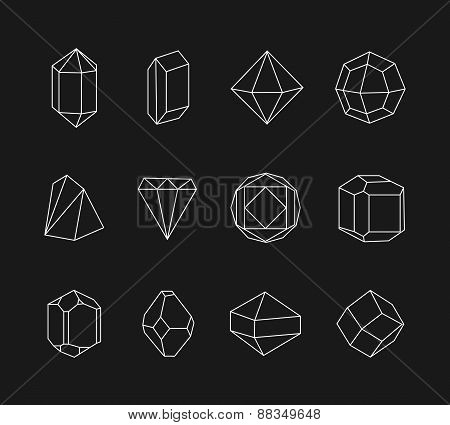 Set of line geometric shapes for logo