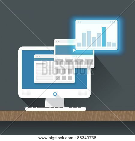 Modern personal computer with a browser. Flat design illustration. Layout for a content