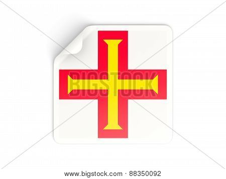 Square Sticker With Flag Of Guernsey