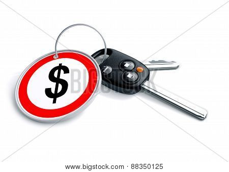 Car keys with US Dollar currency symbol as a keyring