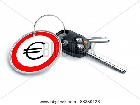 Car keys with Euro currency symbol as a keyring