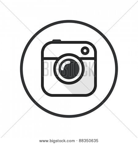 Vintage photo camera lineart icon. Minimalism illustration concept