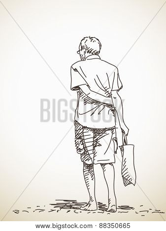 Sketch of old man walking barefoot Back view Hand drawn Vector illustration