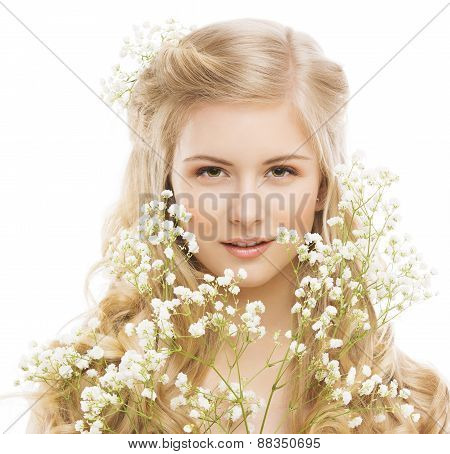 Woman Beauty Portrait, Young Girl With Flower And Blond Hair, Smooth Skin Makeup, Natural Cosmetics