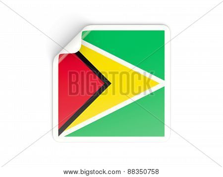 Square Sticker With Flag Of Guyana