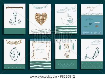 greeting card set cute sea objects collection.
