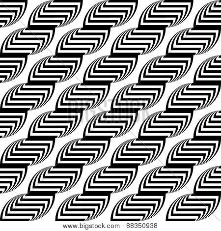 Design Seamless Monochrome Waving Geometric Pattern