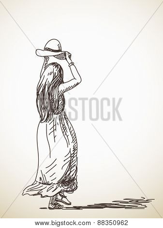 Sketch of dancing woman with hat back view Hand drawn vector illustration