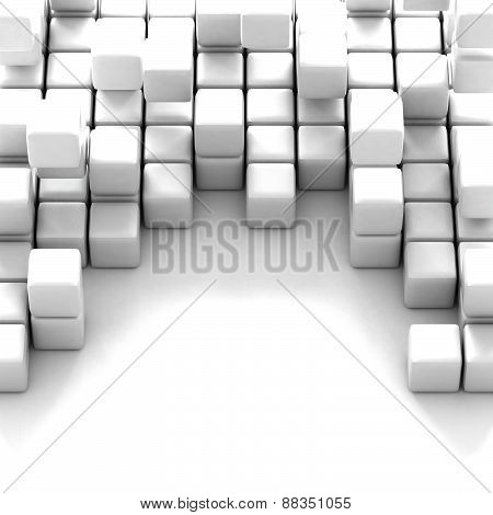 3d illustration of white cubes