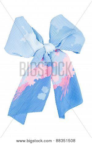 Silk Scarf. Blue Silk Scarf Folded Like Bowknot