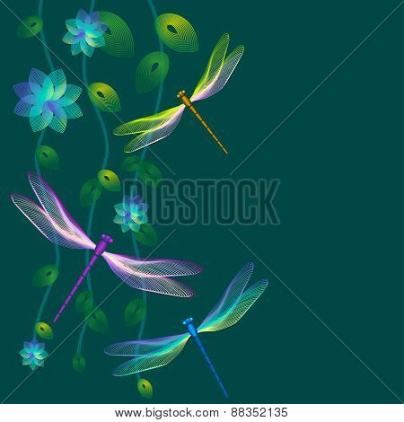 Card With Dragonflies On Dark Green Background