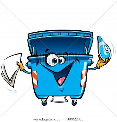 Happy Face Cartoon Recycle Trash Bin Anthropomorphic Character Recycling Garbage