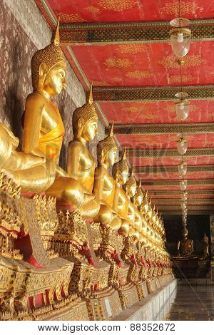 Meditation Buddha Statues In Wat Suthat, Thailand
