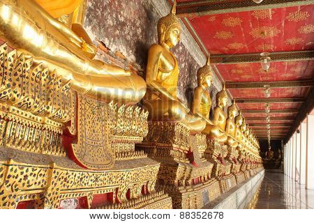 Meditation Buddha Statues In Buddhist Temple Wat Suthat, Bangkok,