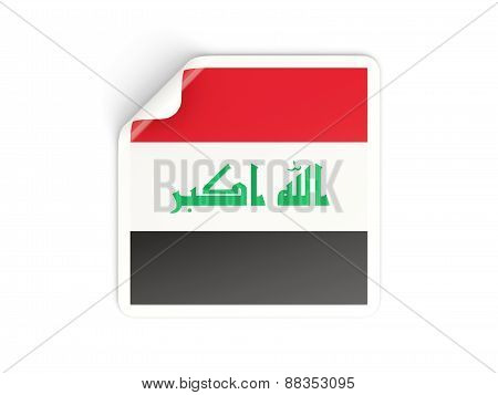 Square Sticker With Flag Of Iraq