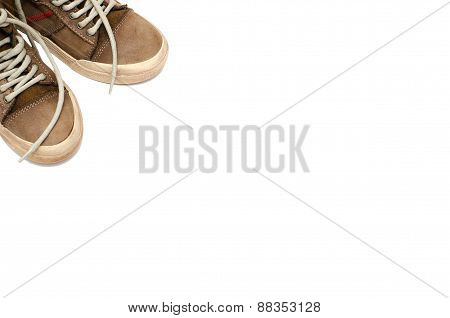 Leather shoes casual style on a white background