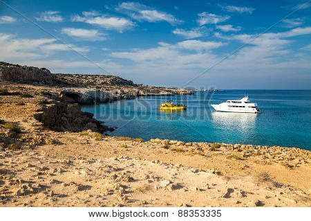 Two Yachts In The Lagoon, Cyprus