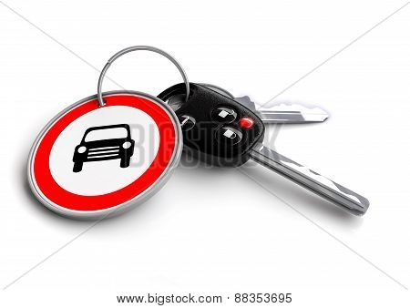 Car Keys with car icon on a road sign key ring