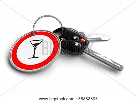 Car Keys with cocktail glass road sign key ring