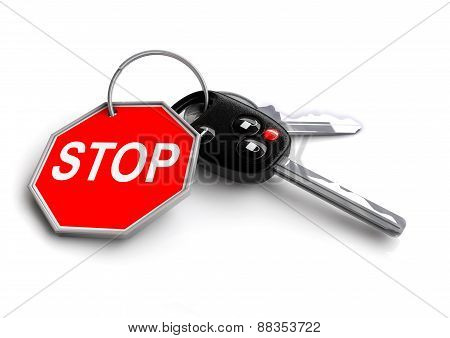 Car Keys with road sign key ring