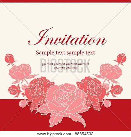 Invitation Card With Peonies.