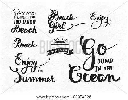 Set of summer motivational quotes about beach vacation and relaxation
