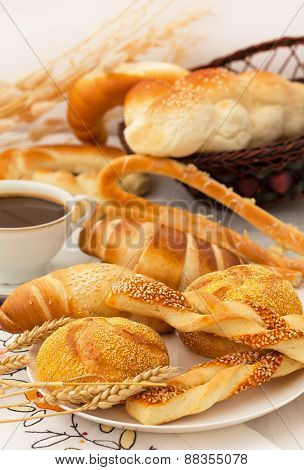 Fresh pastry with coffee