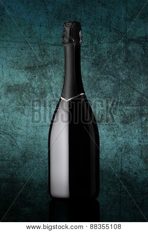 bottle of sparkling wine on colorful blue background