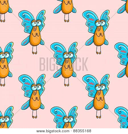 Seamless Pattern With Appealing  Fly