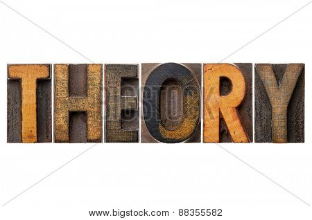 theory - science concept - isolated word in vintage letterpress wood type printing blocks