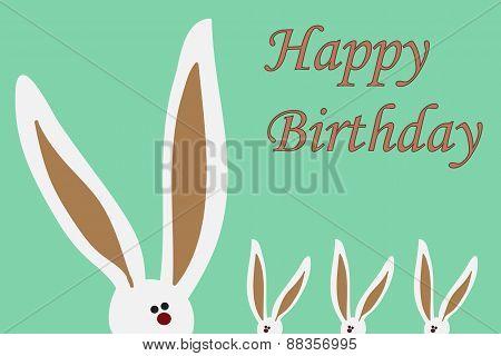 Happy Birthday Card With Rabbits