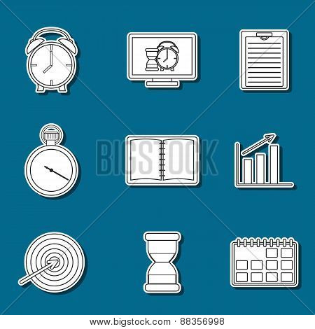 Set of time management stickers
