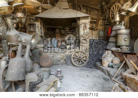 Antique Shop In The Village Household Items Lahij Azerbaijan